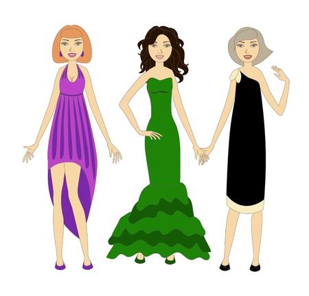 robes de soir�e: Trois jeunes femmes v�tues de robes du soir � la mode Illustration