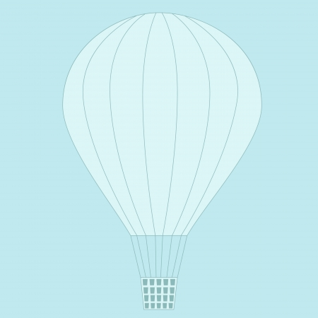 Balloon flying in the sky. No mesh, gradient, transparency used. Objects grouped and named in English.  Vector
