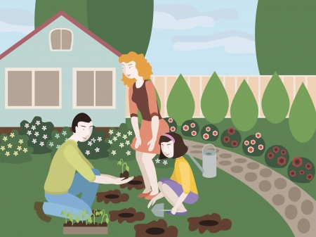 dacha: Illustration of father, mother and daughter planting flowers together in the yard. Objects grouped, groups named in English. No mesh and transparency used.