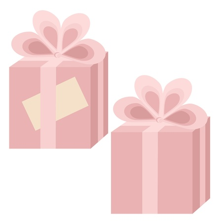 Two pink gift boxes with bows on white background. One with card. No mesh, gradient, transparency used. Objects grouped and named in English.