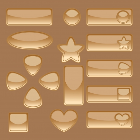 Glossy dark golden web buttons set on brown background. No mesh and transparency used. Gradient used. Objects grouped and named in English.  Vector