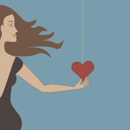 Beautiful girl with brown hair touching heart on a string. Objects grouped and named in English. No mesh, gradient, transparency used. Banco de Imagens - 15917038