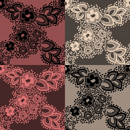 Seamless lace pattern with floral elements. Painted in 4 different styles. Objects grouped and named in English. No mesh, gradient, transparency used.  Stock Vector - 15917052