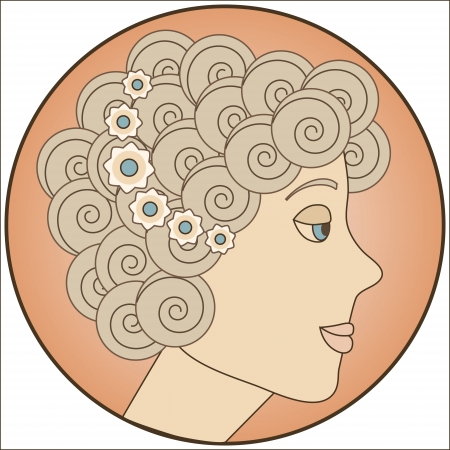 Circle with blonde girl inside Stock Vector - 15974972