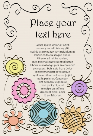 Frame made of hand drawn flowers and spirals.