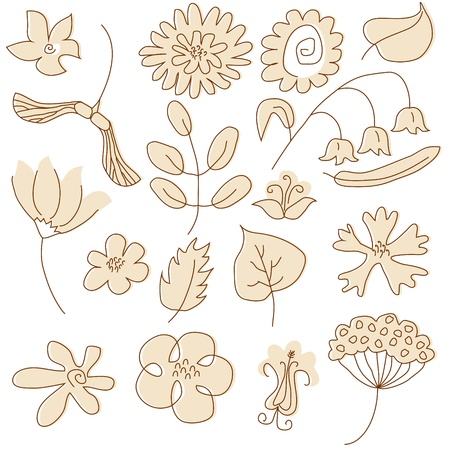 Set of summer floral elements painted in beige color Stock Vector - 16063912
