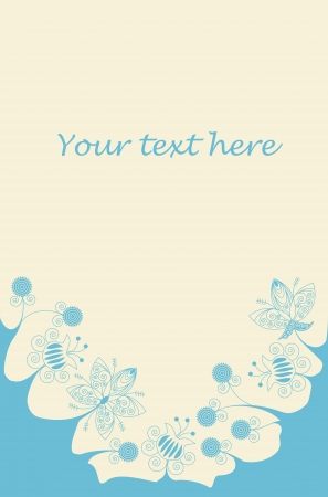 Blue flowers bottom frame on light yellow background with place for text Illustration