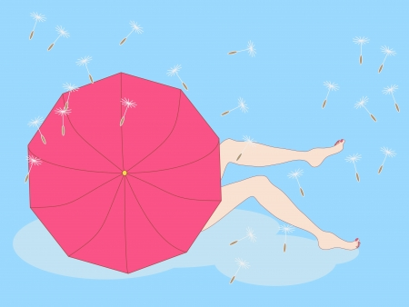 easiness: illustration of girl sitting on a cloud hiding beside the umbrella and showing her legs