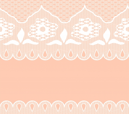 Warm color background with seamless white lace borders. Objects grouped and named in English. No mesh, gradient, transparency used. Stock Vector - 16172059