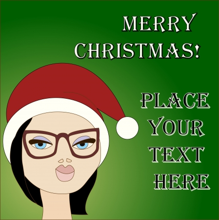 New year card template with brunette girl wearing Santa hat. No mesh, gradient, transparency used. Objects grouped and named in English.  Stock Vector - 16172056