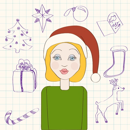 New year card template with blonde girl wearing Santa hat. No mesh, gradient, transparency used. Objects grouped and named in English. Stock Vector - 16172057