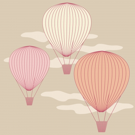 aerostat: Three balloons flying in the sky painted with vintage colors  No mesh, gradient, transparency used  Objects grouped and named in English