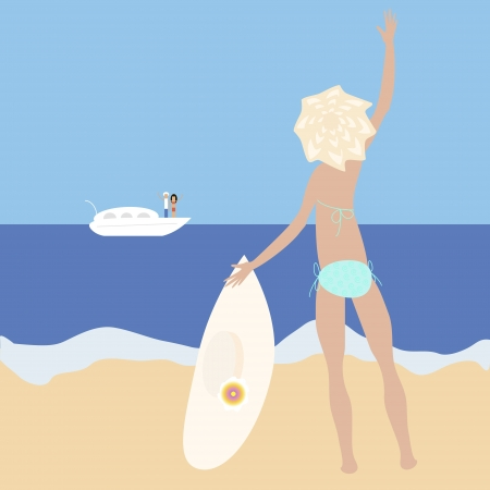 big hat: Vector illustration of blonde slim girl staying at the sea-side with big hat waving her hand to a people on yacht  No mesh and transparency used  Gradient used  Objects grouped and named in English