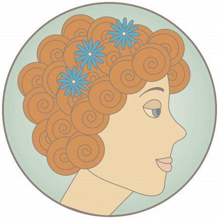 Circle with redhead curly girl inside  No mesh and transparency used  Gradient used  Objects grouped and named in English Stock Vector - 16226851