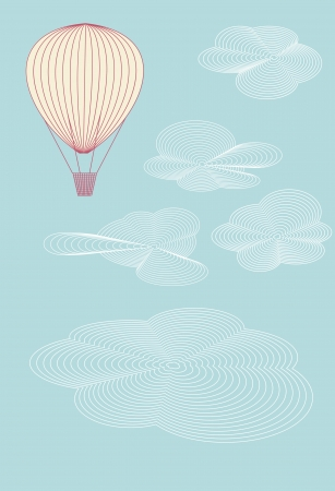 Balloon flying in the summer sky above the clouds  No mesh, gradient, transparency used  Objects grouped and named in English   Illustration