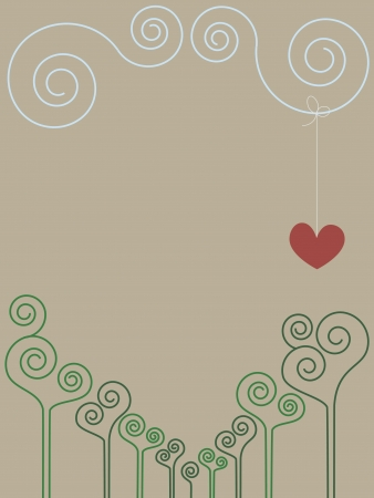 Vintage romantic spiral drawing with place for text  No mesh, gradient, transparency used  Objects grouped and named in English