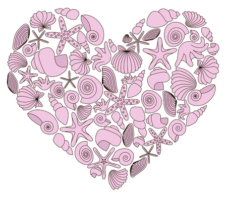 Heart made of pink shells on white background
