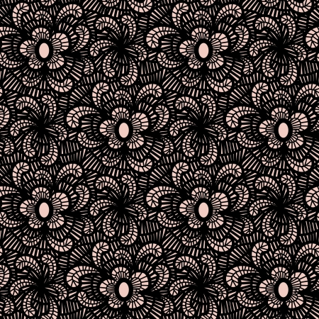 pink and black: Seamless floral lacy background  Objects grouped and named in English  No mesh, gradient, transparency used
