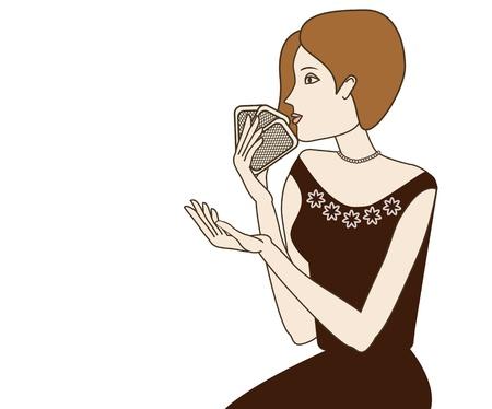 redhead woman: Redhead donna carte da gioco su sfondo bianco oggetti raggruppati e denominati in inglese No, gradiente maglie, trasparenza utilizzato