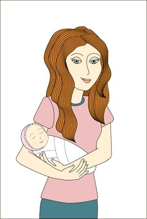 redhead woman: Redhead donna con neonato