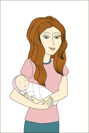 Redhead woman holding newborn baby   Stock Vector - 16433446