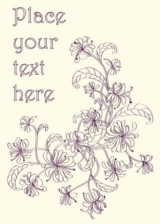 Decorative vintage floral corner drawn with purple ink on light yellow paper. Objects grouped and named in English. No mesh, gradient, transparency used.