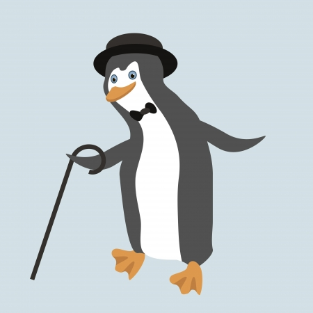 Old fashioned dancing penguin in comic hat. Objects grouped and named in English. No mesh,gradient, transparency used.