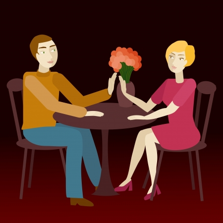 spouses: Couple in love sitting vis-a-vis. Objects grouped and named in English. No mesh and transparency used. Gradient used.