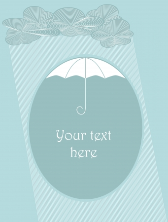 Clouds and rain falling down with place for text under umbrella. Objects grouped and named in English. No mesh, gradient, transparency used Иллюстрация