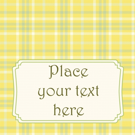 Yellow plaid card with text frame. No mesh,gradient, transparency used. Objects grouped and named in English.