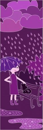 mercy: illustration of cartoon girl walking in the rain in purple colors