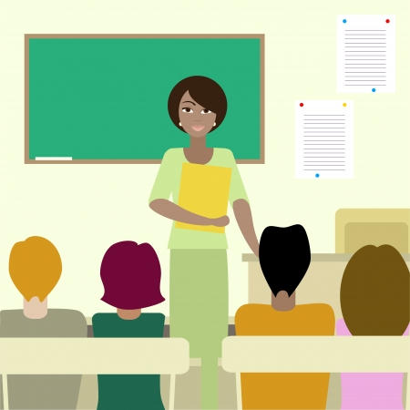 attentive: 4 mixed nationalities students listening to african teacher in a classroom  No mesh, gradient, transparency used  Objects grouped and named in English   Illustration