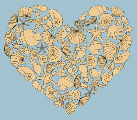 Vintage heart made of yellow shells on blue background  No mesh, gradient, transparency used  Objects grouped and named in English