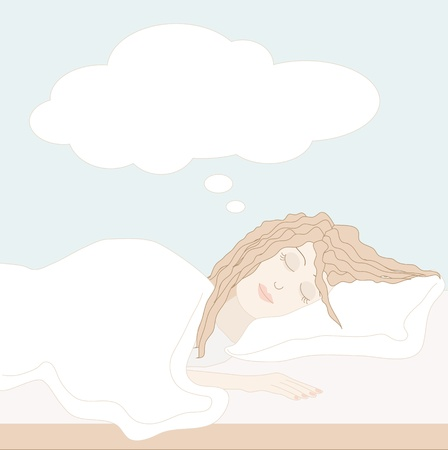Vector illustration of young woman sleeping on white sheets with dreaming bubble above her head