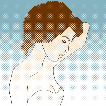 Side view of girl painted in retro style  No mesh,gradients, transparency used  Objects grouped and named in English Stock Vector - 16577783