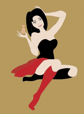 Brunette woman wearing black and red clothes holding small perfume bottle  Objects grouped and named in English  No mesh, gradient, transparency used
