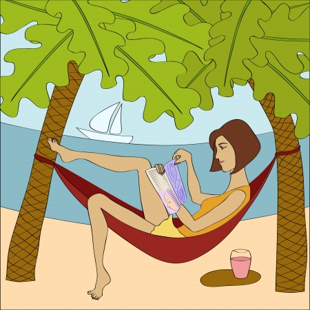 hammock: Brunette woman reading magazine while sitting in hammock at the seaside  No mesh, gradient, transparency  Objects grouped and named in English
