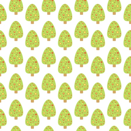 Seamless pattern with cute Christmas tree  No mesh, gradient, transparency used  Objects grouped and named in English Stock Vector - 16848551