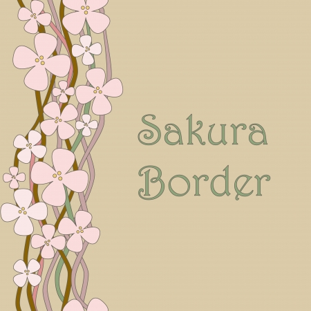 Blooming sakura vintage seamless border  No mesh, gradient, transparency used  Objects grouped and named in English   Stock Vector - 16926188