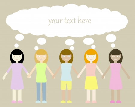 oneness: five different girls with thinking bubble above their heads  Objects grouped and named in English  No mesh, gradient, transparency used