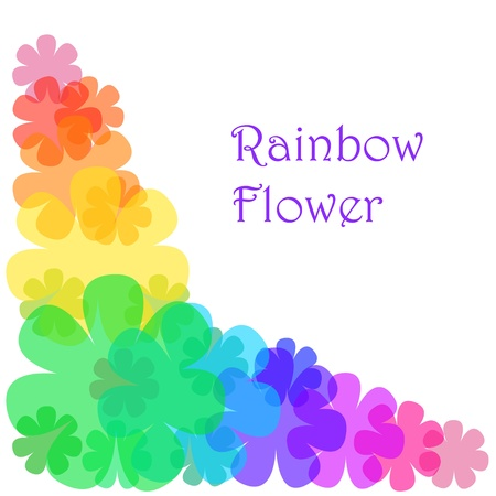 Decorative corner made of transparent flowers painted an rainbow colors. Objects grouped and named in English. No mesh, gradient, transparency used.