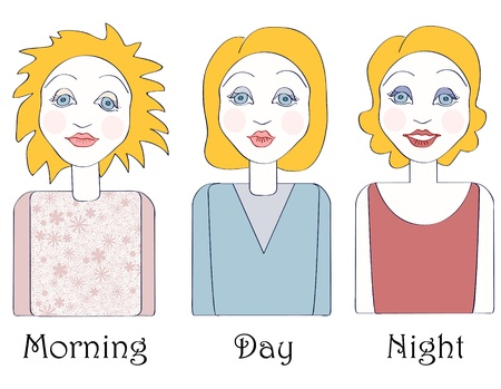 no gradient: Set of young caucasian woman in three times of the day: morning, day and night. No mesh,gradient, transparency used. Objects grouped and named in English.  Illustration