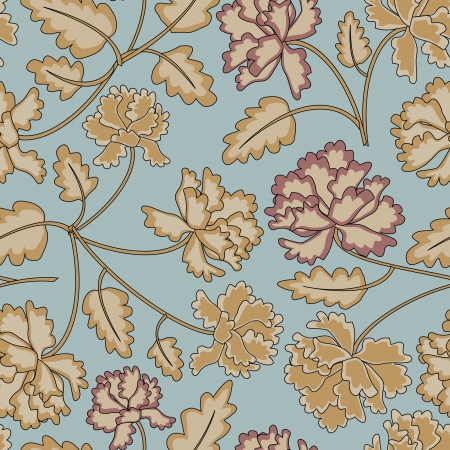 Vintage peony flowers and leaves seamless pattern on blue background  No mesh  gradient, transparency used  Objects grouped and named in English Stock Vector - 16959097