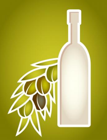 botella de aceite de oliva: El aceite de oliva botella estilizada como objetos de papel cortadas marco agrupados y nombrados en Ingl�s No malla, gradiente, gradiente transparencia utilizada utilizado Vectores