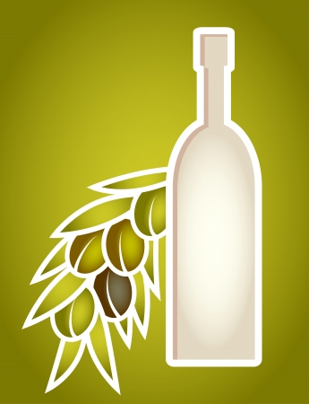 Olive oil bottle stylized as paper cut frame  Objects grouped and named in English  No mesh, gradient, transparency used  Gradient used