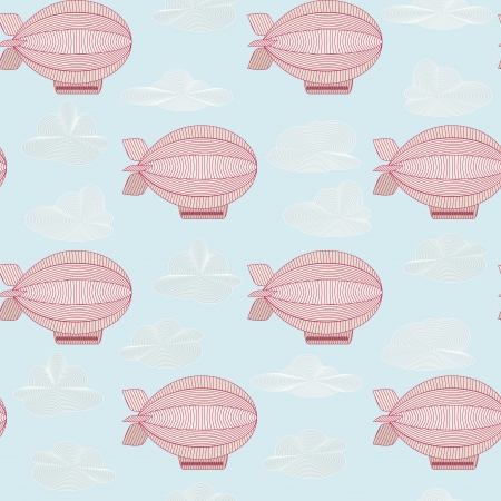 Seamless pattern with pink zeppelins  Objects grouped and named in English  No mesh,gradient, transparency used   Vector