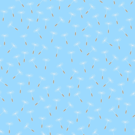 Seamless background with flying dandelion seeds  Objects grouped and named in English  No mesh, gradient, transparency used  Vector