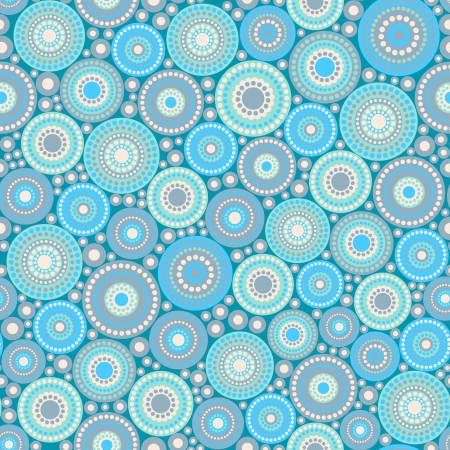 Seamless pattern made of circles and dots painted in blue colors  Objects grouped and named in English  No mesh, gradient, transparency used