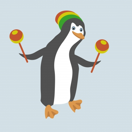 Funny dancing penguin with maracas. Stock Vector - 17387243