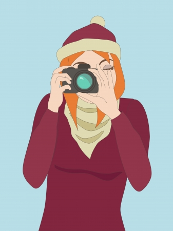 Photographer girl clicking on a camera s button  Objects grouped and named in English  No mesh, gradient, transparency used  Stock Vector - 17404948